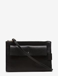 Ellie Leather Shoulder Bag - skuldertasker - black
