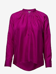 Gathered Silk Blouse - long sleeved blouses - orchid