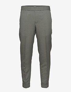 M. Terry Cropped Linen Slacks - casual - green grey