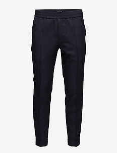 M. Terry Cropped Linen Slacks - casual - navy