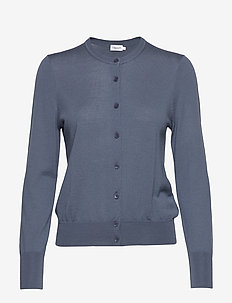 Merino Short Cardigan - BLUE GREY