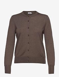 Merino Short Cardigan - cardigans - dark taupe