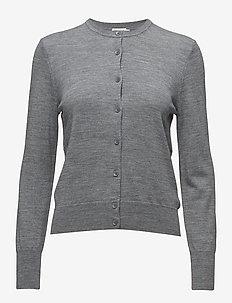 Merino Short Cardigan - cardigans - mid grey m
