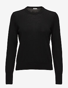 Merino R-neck Sweater - tröjor - black
