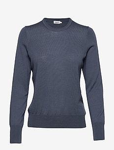 Merino R-neck Sweater - BLUE GREY
