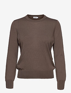 Merino R-neck Sweater - neulepuserot - dark taupe