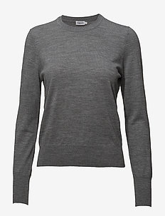 Merino R-neck Sweater - trøjer - mid grey m