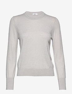 Merino R-neck Sweater - trøjer - sterling g
