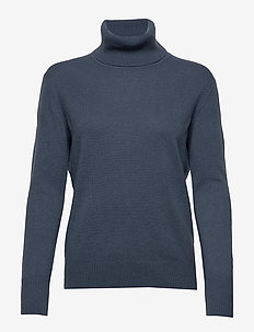 Cashmere Roller Neck Sweater - BLUE GREY