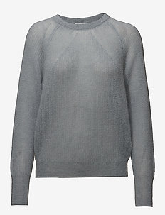 Mohair R-neck Sweater - DOVE BLUE