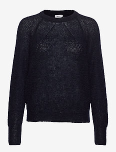 Mohair R-neck Sweater - NAVY