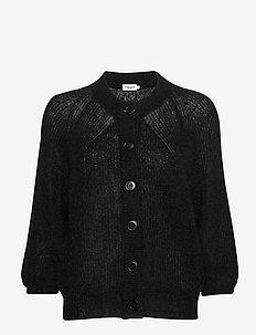 Mohair 3/4 Sleeve Cardigan - BLACK