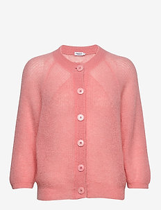 Mohair 3/4 Sleeve Cardigan - cardigans - taffy pink