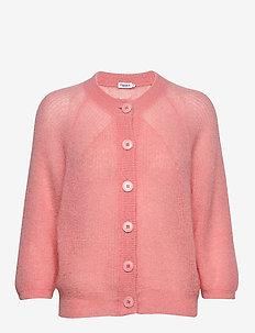 Mohair 3/4 Sleeve Cardigan - cardigans - taffy pink