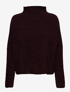 Mika Yak Funnelneck Sweater - turtlenecks - maroon mel