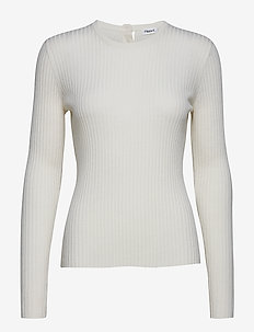 Flat Rib R-neck Sweater - OFFWHITE