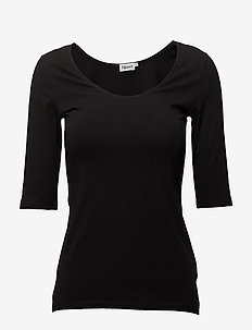 Cotton Stretch Scoop Neck Top - t-shirts - black