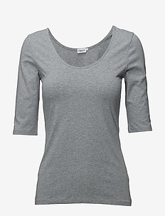 Cotton Stretch Scoop Neck Top - t-shirts - grey mel.