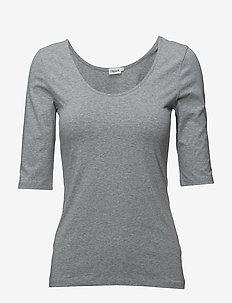Cotton Stretch Scoop Neck Top - t-shirts - grey mel.