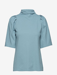Cotton Crepe Pleat Top - KINGFISHER