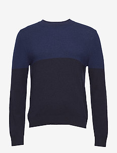 M. Wool Colour Block Sweater - pulls col rond - blue/navy