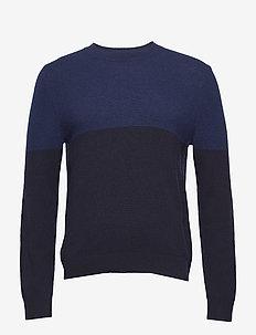 M. Wool Colour Block Sweater - rund hals - blue/navy