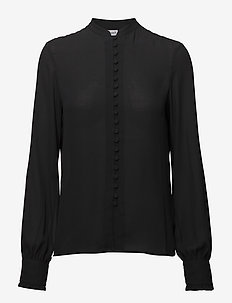 Sheer Button Blouse - BLACK