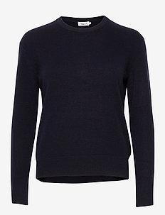 Cashmere R-neck Sweater - kaszmir - navy