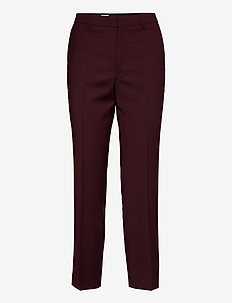 Emma Cropped Cool wool Trouser - straight leg trousers - maroon