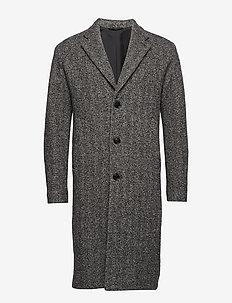 M. Luke Herringbone Coat - wełniane płaszcze - grey melan