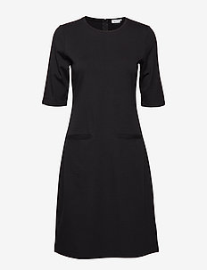 Front Pocket Shift Dress - BLACK