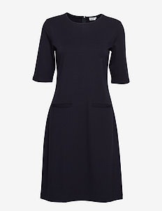 Front Pocket Shift Dress - NAVY