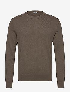 M. Cotton Merino Basic Sweater - basic gebreide truien - dark taupe