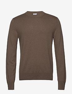 M. Cotton Merino Basic Sweater - basic knitwear - grey taupe