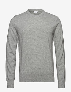 M. Cotton Merino Basic Sweater - basic gebreide truien - light grey