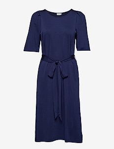 Tie Waist Pleat Dress - INK