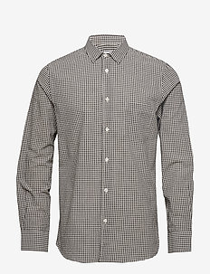 M. Tim Seersucker Check Shirt - NAVY/OFF W