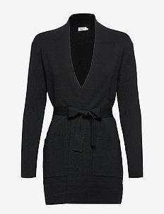 Belted Mid Cardigan - cardigans - black
