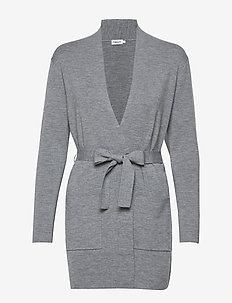 Belted Mid Cardigan - cardigans - mid grey m