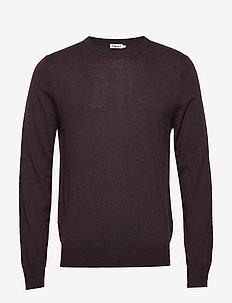 M. Merino Sweater - rund hals - dark plum