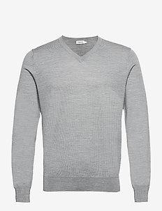 M. Merino V-Neck Sweater - knitted v-necks - grey mel.