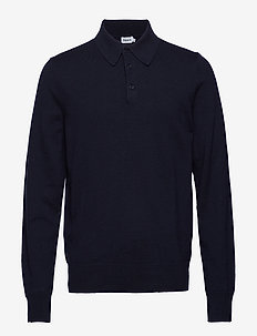 M. Knitted Polo Shirt - langermede - navy