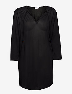 Sheer Tunic Blouse - BLACK