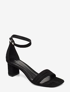 Belinda Mid Heel Sandal - heeled sandals - black sued