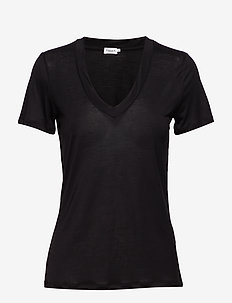 Tencel Deep V-neck Tee - BLACK