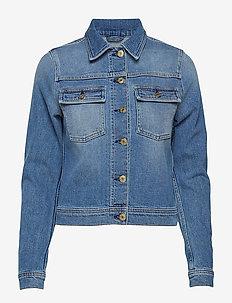 Suzy Washed Denim Jacket - farkkutakit - mid blue