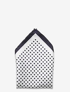 M. Dot Print Silk Handkerchief - NAVY/OFF W