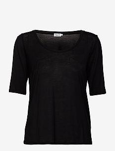 Tencel Scoop-neck Tee - BLACK