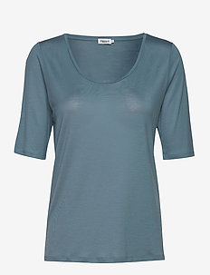 Tencel Scoop-neck Tee - basic t-shirts - blue heave