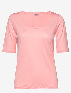 Tencel Scoop-neck Tee - basic t-shirts - taffy pink